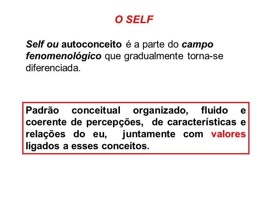 O SELF Self ou autoconceito é a parte do campo fenomenológico que gradualmente torna-se diferenciada.