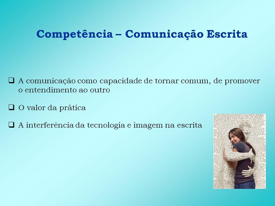 Competência – Comunicação Escrita Principais conhecimentos que favorecem a expressão da competência: Morfologia Regras da Associação Brasileira de Normas Técnicas (ABNT) Sintaxe