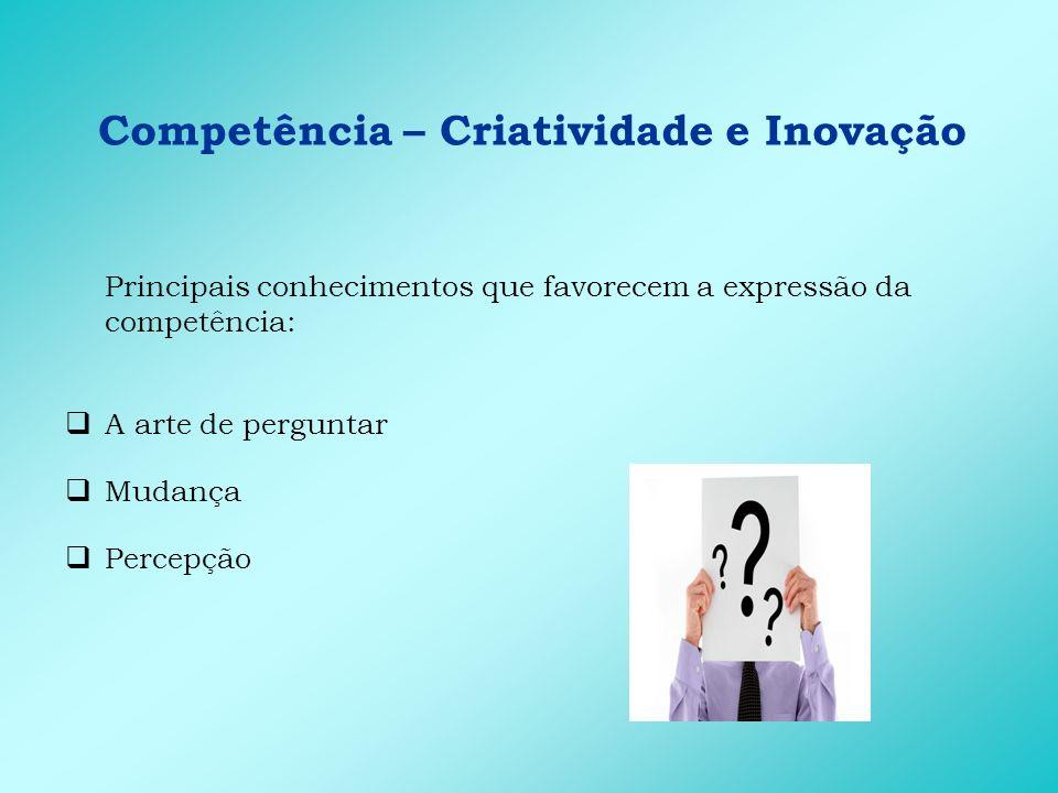 Competência – Criatividade e Inovação Principais habilidades que favorecem a expressão da competência: Capacidade de fazer conexões Capacidade de selecionar informações Capacidade de identificar soluções