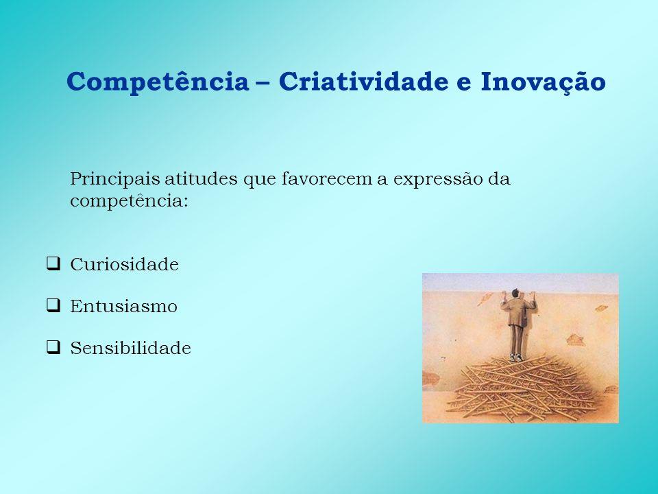 Competência – Criatividade e Inovação Principais comportamentos de entrega: Implementa idéias novas Está aberto a novas experiências Busca alternativas para problemas