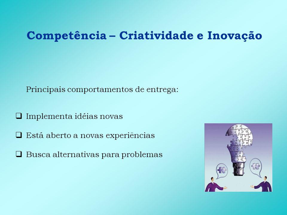 Competência – Criatividade e Inovação Principais comportamentos de entrega: Implementa idéias novas Está aberto a novas experiências Busca alternativa