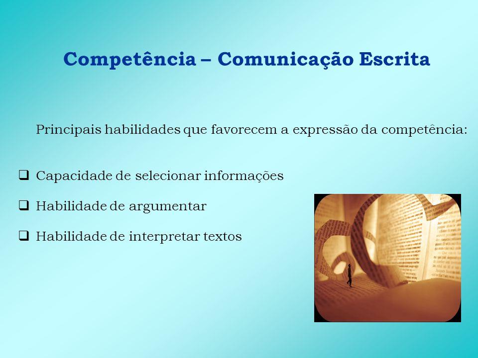 Competência – Comunicação Escrita Principais atitudes que favorecem a expressão da competência: Auto-confiança Segurança Persistência