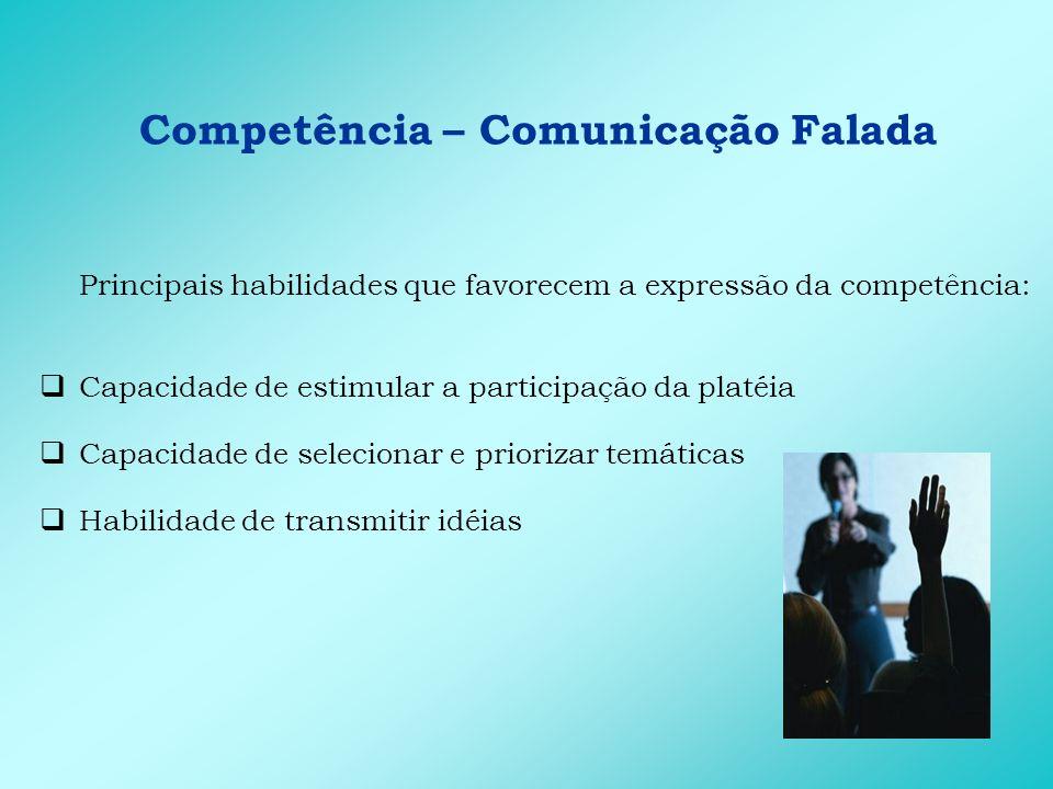 Competência – Comunicação Falada Principais atitudes que favorecem a expressão da competência: Dinamismo Entusiasmo Segurança