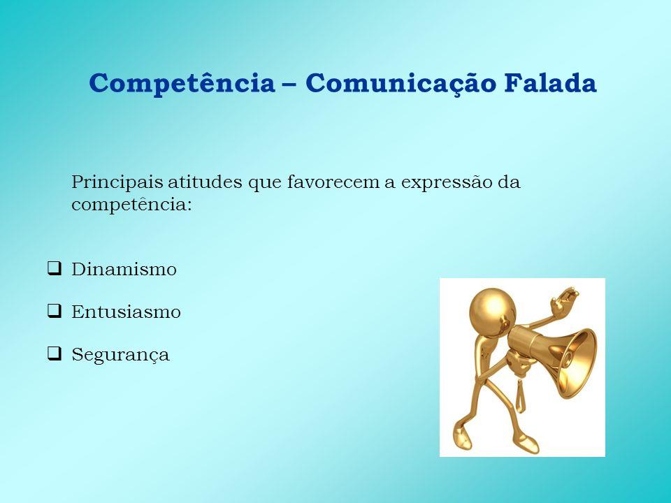 Competência – Comunicação Falada Principais comportamentos de entrega: Apresenta material de apoio de qualidade Apresenta exemplos e histórias na apresentação Provoca reflexões que estimulam a compreensão