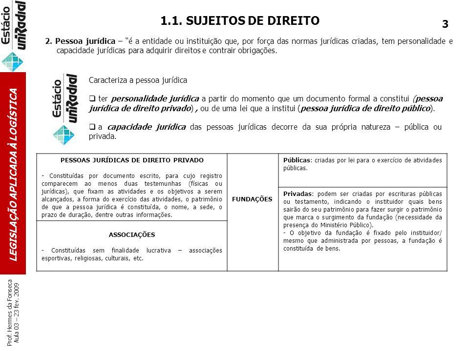 LEGISLAÇÃO APLICADA À LOGÍSTICA Prof. Hermes da Fonseca Aula 03 – 23 fev. 2009 1.1. SUJEITOS DE DIREITO 2. Pessoa jurídica – é a entidade ou instituiç