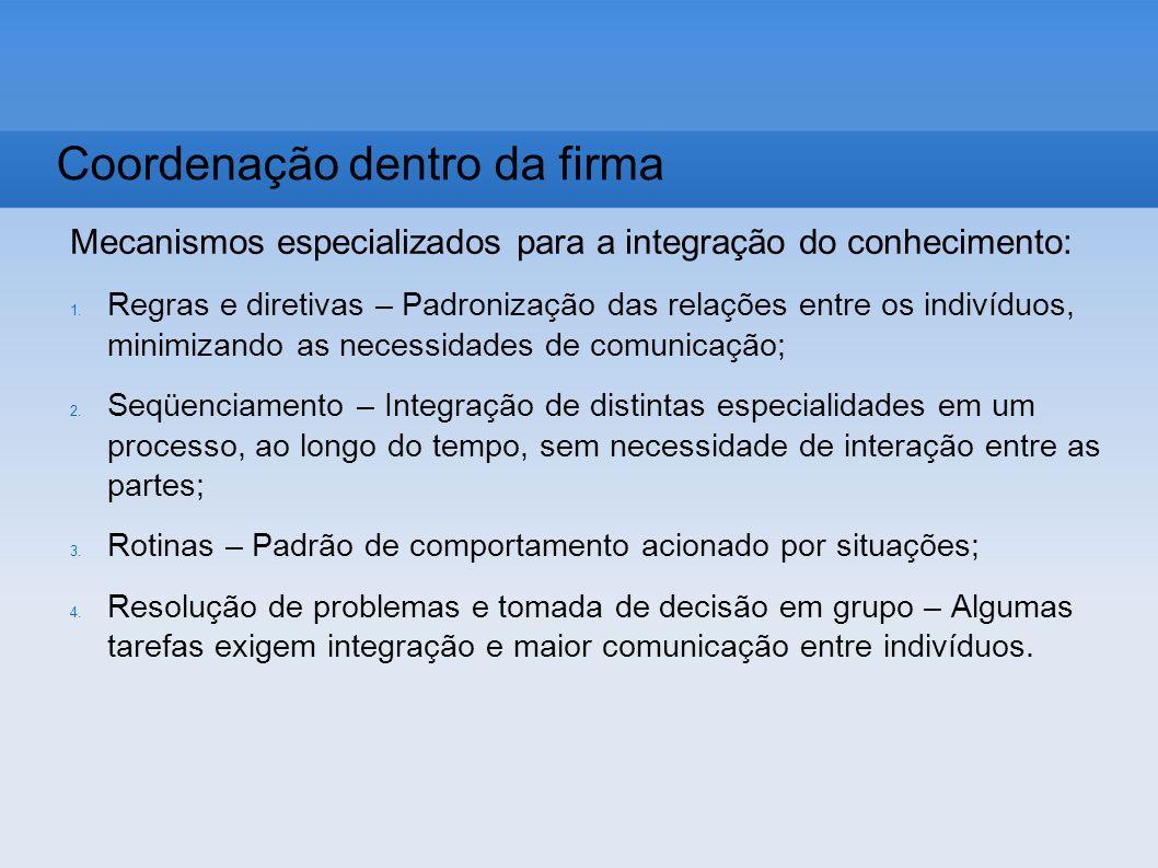 Mecanismos especializados para a integração do conhecimento: 1. Regras e diretivas – Padronização das relações entre os indivíduos, minimizando as nec