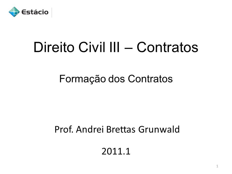 Direito Civil III – Contratos Formação dos Contratos 2011.1 Prof. Andrei Brettas Grunwald 1