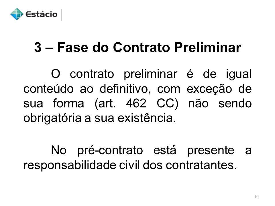3 – Fase do Contrato Preliminar O contrato preliminar é de igual conteúdo ao definitivo, com exceção de sua forma (art. 462 CC) não sendo obrigatória