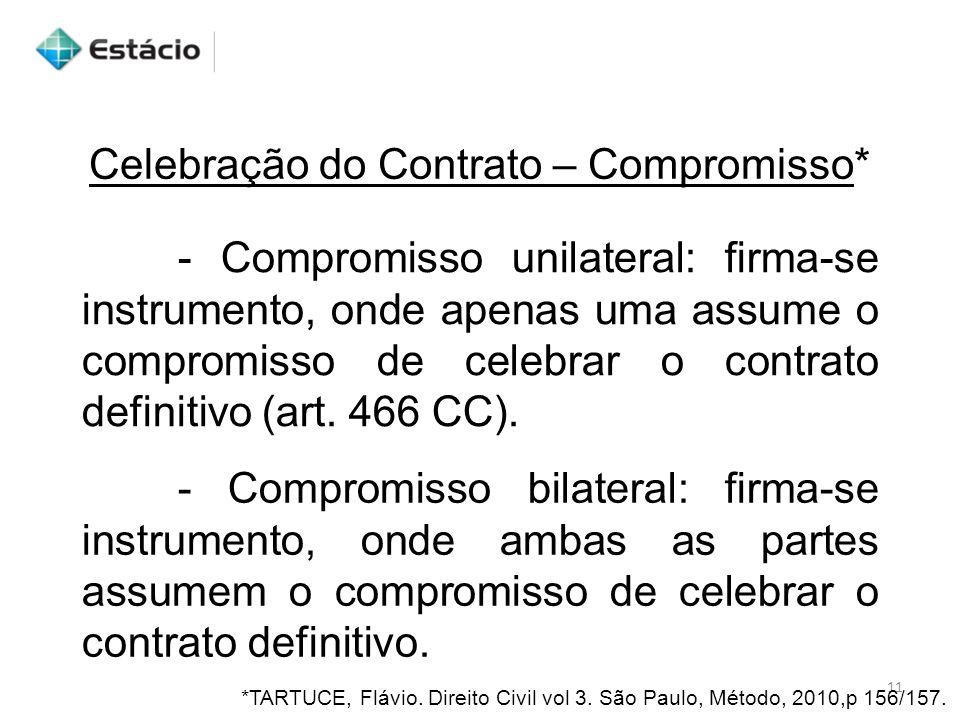 Celebração do Contrato – Compromisso* - Compromisso unilateral: firma-se instrumento, onde apenas uma assume o compromisso de celebrar o contrato defi