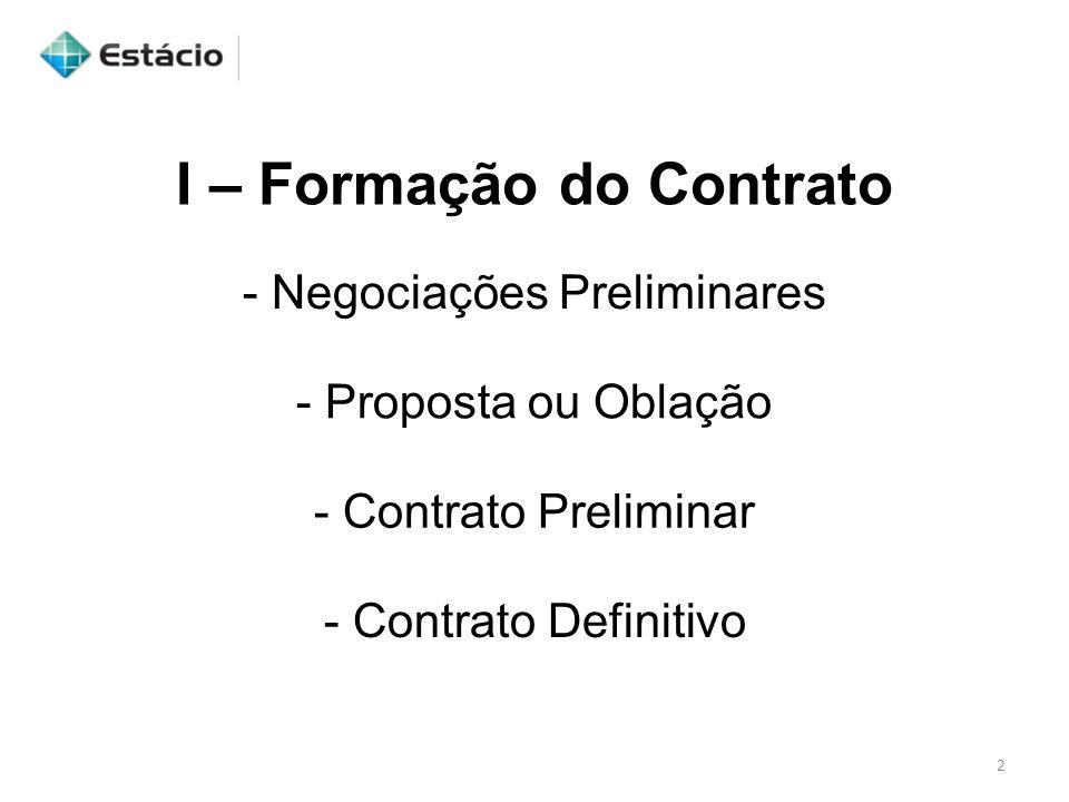 I – Formação do Contrato - Negociações Preliminares - Proposta ou Oblação - Contrato Preliminar - Contrato Definitivo 2