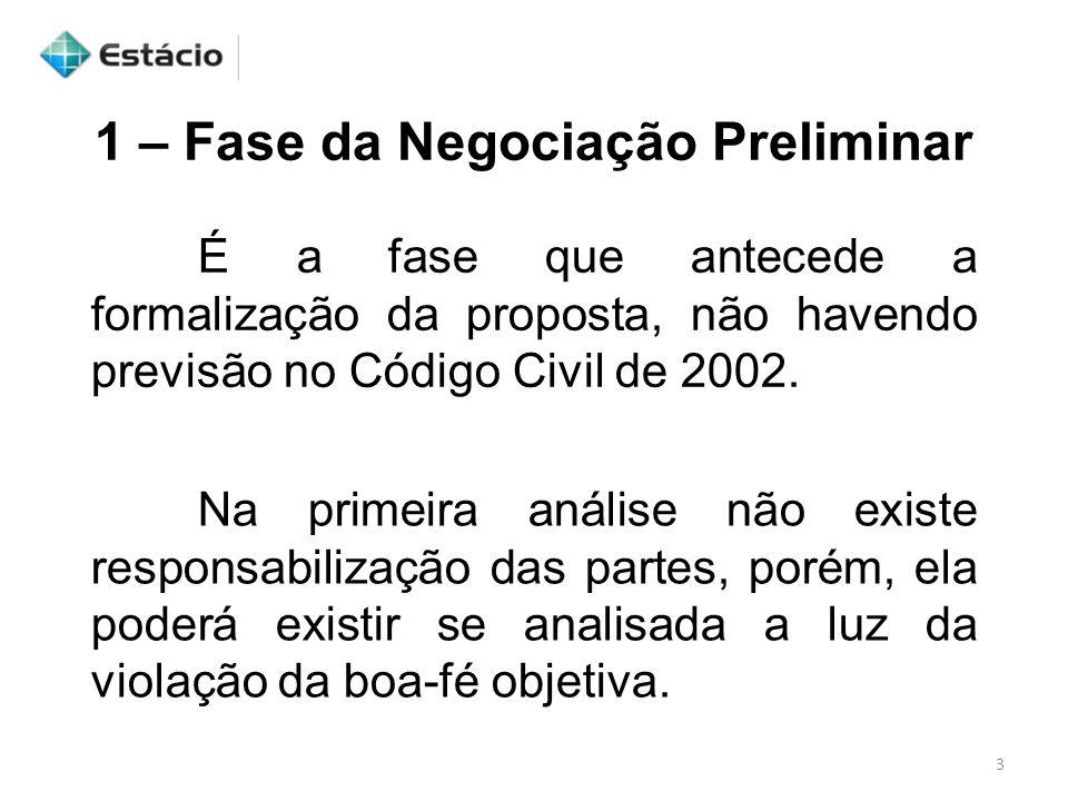 1 – Fase da Negociação Preliminar É a fase que antecede a formalização da proposta, não havendo previsão no Código Civil de 2002. Na primeira análise