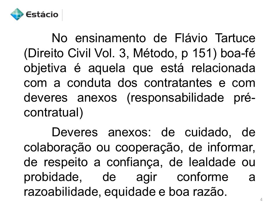 No ensinamento de Flávio Tartuce (Direito Civil Vol. 3, Método, p 151) boa-fé objetiva é aquela que está relacionada com a conduta dos contratantes e