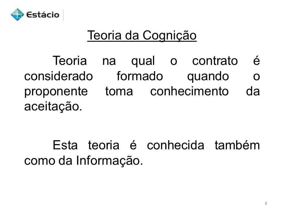 Teoria da Cognição 8 Teoria na qual o contrato é considerado formado quando o proponente toma conhecimento da aceitação. Esta teoria é conhecida també