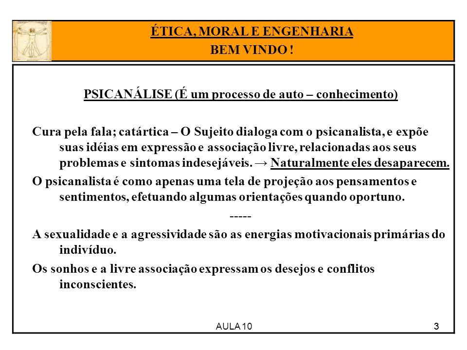 AULA 10 4 Estrutura da Mente, segundo Freud: 4 ÉTICA, MORAL E ENGENHARIA BEM VINDO .