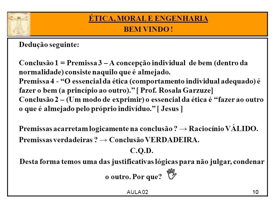 10 Dedução seguinte: Conclusão 1 = Premissa 3 – A concepção individual de bem (dentro da normalidade) consiste naquilo que é almejado. Premissa 4 - O