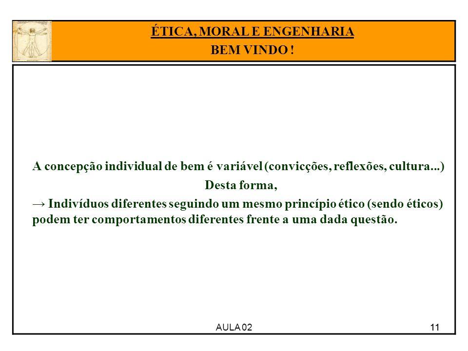 11 A concepção individual de bem é variável (convicções, reflexões, cultura...) Desta forma, Indivíduos diferentes seguindo um mesmo princípio ético (