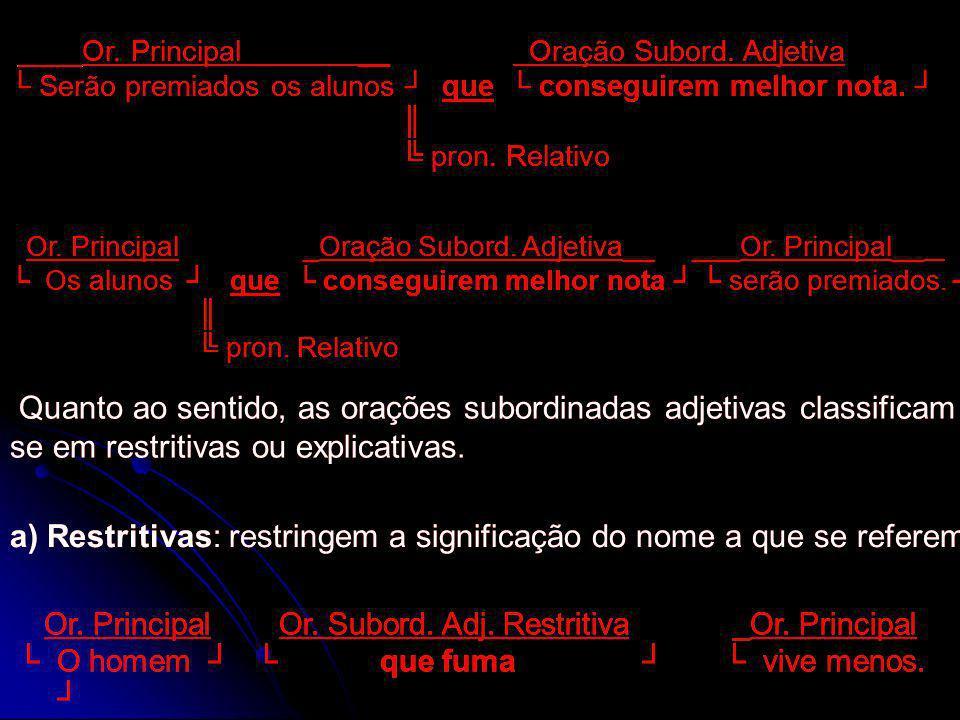 ____Or. Principal __ Oração Subord. Adjetiva Serão premiados os alunos que conseguirem melhor nota. pron. Relativo ____Or. Principal __ Oração Subord.