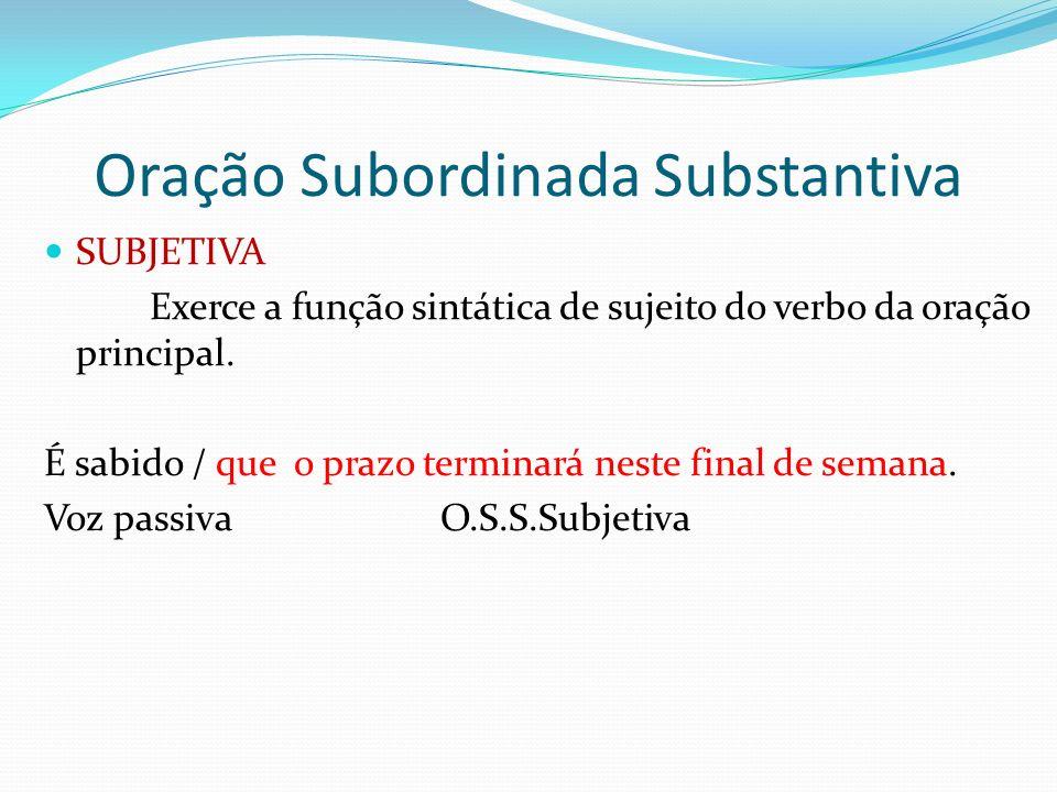 Oração Subordinada Substantiva SUBJETIVA Exerce a função sintática de sujeito do verbo da oração principal. É sabido / que o prazo terminará neste fin
