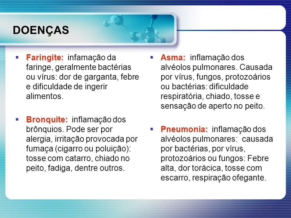 DOENÇAS Faringite: Faringite: infamação da faringe, geralmente bactérias ou vírus: dor de garganta, febre e dificuldade de ingerir alimentos. Bronquit