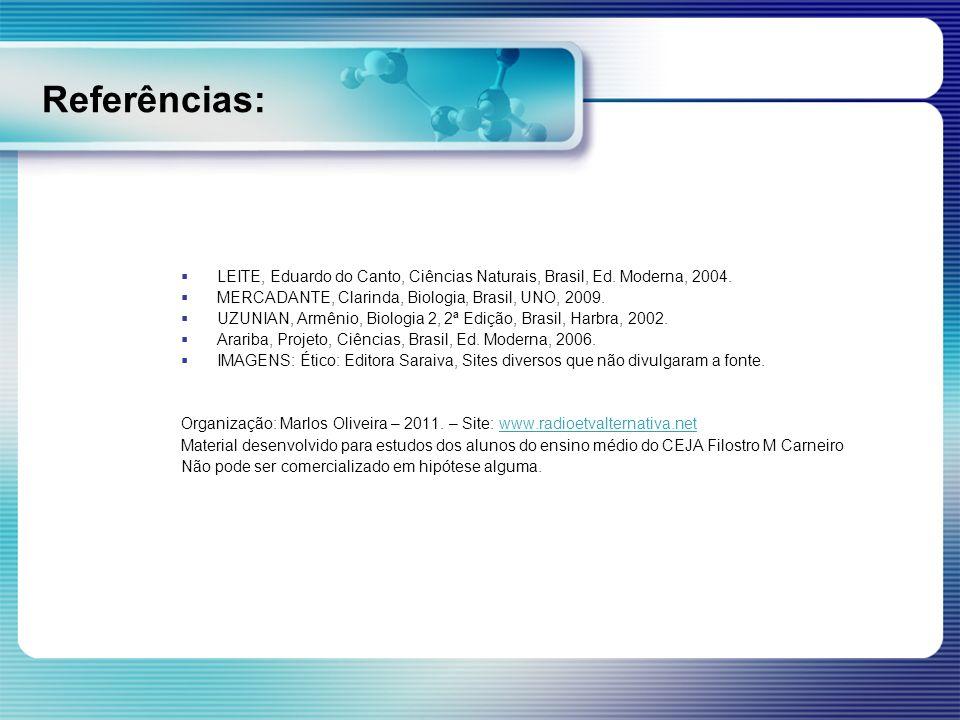 Referências: LEITE, Eduardo do Canto, Ciências Naturais, Brasil, Ed. Moderna, 2004. MERCADANTE, Clarinda, Biologia, Brasil, UNO, 2009. UZUNIAN, Armêni