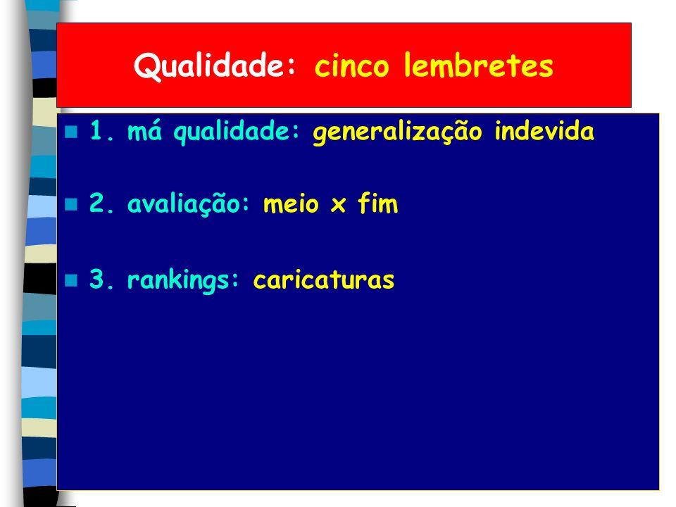 Qualidade: cinco lembretes 1. má qualidade: generalização indevida 2. avaliação: meio x fim