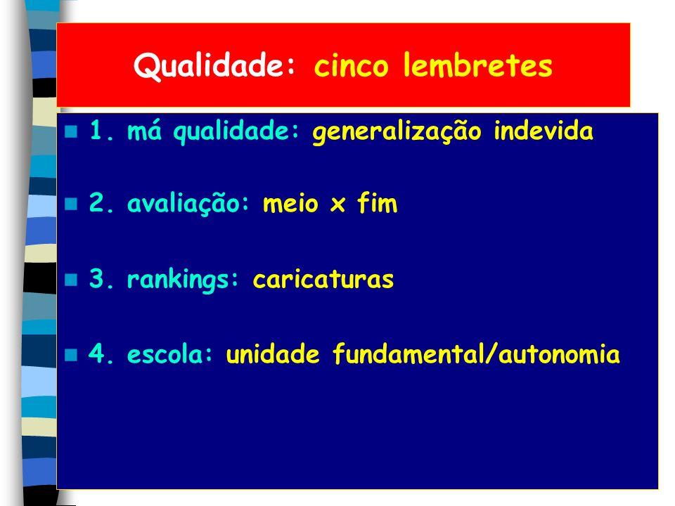 Qualidade: cinco lembretes 1. má qualidade: generalização indevida 2. avaliação: meio x fim 3. rankings: caricaturas