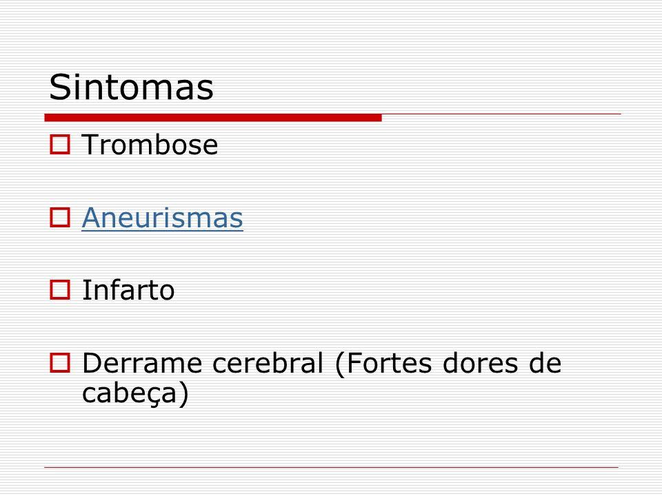 Sintomas Trombose Aneurismas Infarto Derrame cerebral (Fortes dores de cabeça)