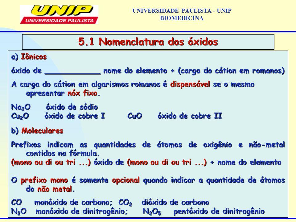 UNIVERSIDADE PAULISTA - UNIP BIOMEDICINA 5.1 Nomenclatura dos óxidos a) Iônicos óxido de ____________ nome do elemento + (carga do cátion em romanos)