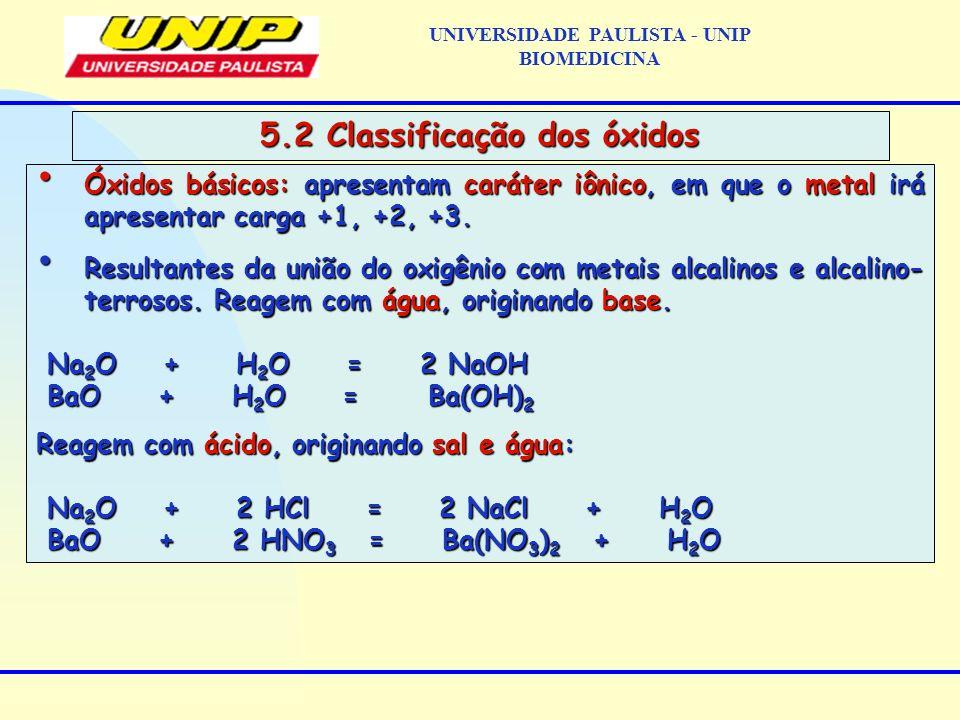UNIVERSIDADE PAULISTA - UNIP BIOMEDICINA 5.2 Classificação dos óxidos Óxidos básicos: apresentam caráter iônico, em que o metal irá apresentar carga +