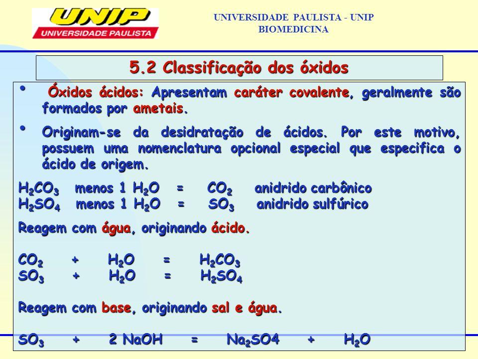 UNIVERSIDADE PAULISTA - UNIP BIOMEDICINA 5.2 Classificação dos óxidos Óxidos ácidos: Apresentam caráter covalente, geralmente são formados por ametais