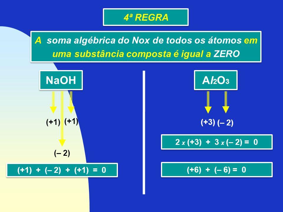 A soma algébrica do Nox de todos os átomos em uma substância composta é igual a ZERO A soma algébrica do Nox de todos os átomos em uma substância comp