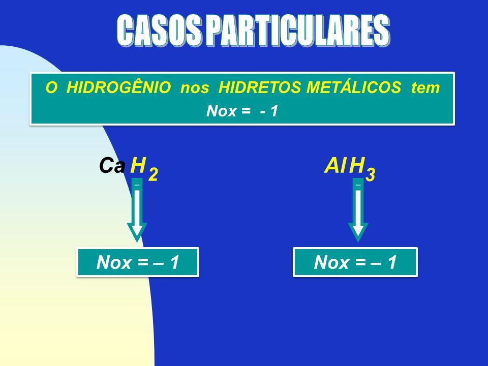 O HIDROGÊNIO nos HIDRETOS METÁLICOS tem Nox = - 1 O HIDROGÊNIO nos HIDRETOS METÁLICOS tem Nox = - 1 Ca H Nox = – 1 2 Al H Nox = – 1 3