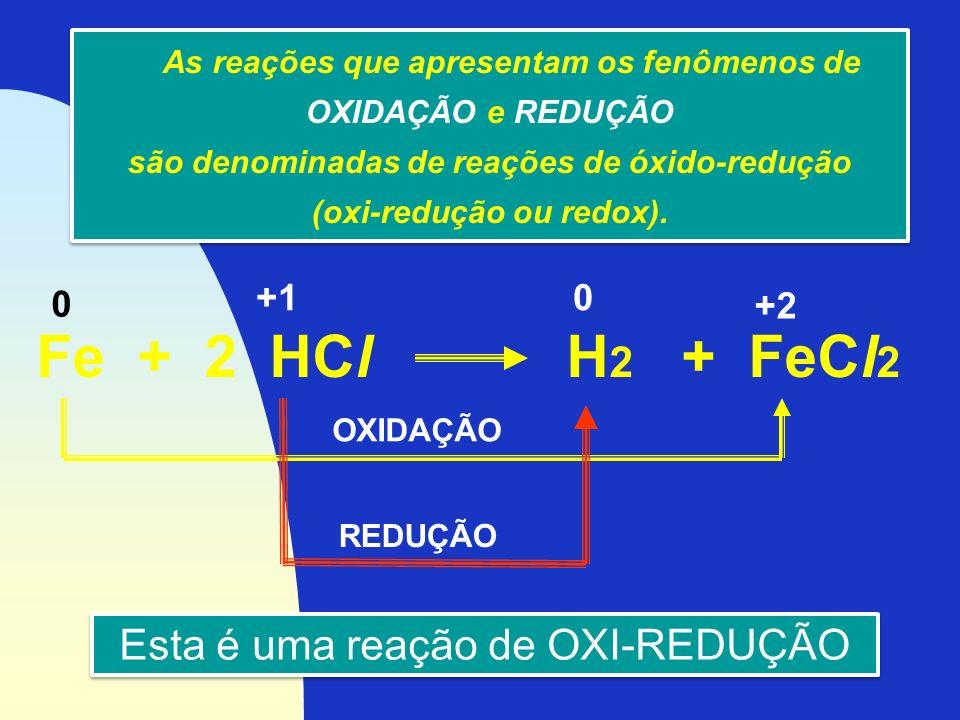 As reações que apresentam os fenômenos de OXIDAÇÃO e REDUÇÃO são denominadas de reações de óxido-redução (oxi-redução ou redox). As reações que aprese