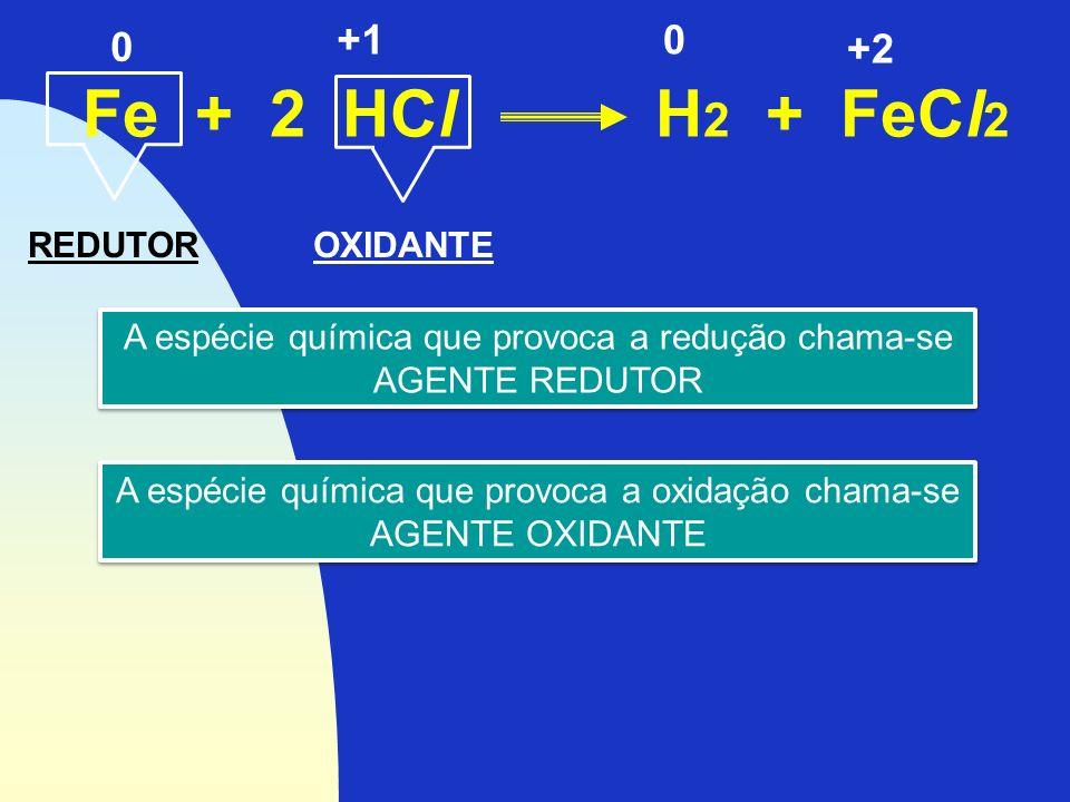 Fe + 2 HCl H 2 + FeCl 2 0 +2 +10 REDUTOR A espécie química que provoca a redução chama-se AGENTE REDUTOR A espécie química que provoca a redução chama