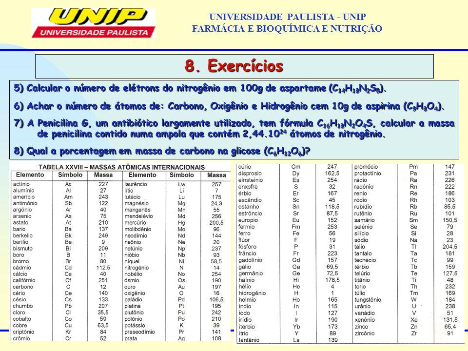 UNIVERSIDADE PAULISTA - UNIP FARMÁCIA E BIOQUÍMICA E NUTRIÇÃO 8. Exercícios 5) Calcular o número de elétrons do nitrogênio em 100g de aspartame (C 14