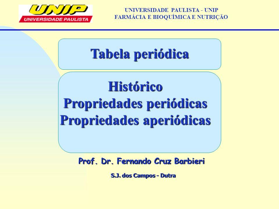 S.J. dos Campos - Dutra Prof. Dr. Fernando Cruz Barbieri UNIVERSIDADE PAULISTA - UNIP FARMÁCIA E BIOQUÍMICA E NUTRIÇÃO Tabela periódica Histórico Prop