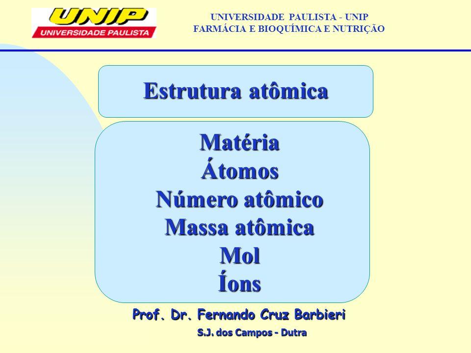 S.J. dos Campos - Dutra Prof. Dr. Fernando Cruz Barbieri UNIVERSIDADE PAULISTA - UNIP FARMÁCIA E BIOQUÍMICA E NUTRIÇÃO Estrutura atômica MatériaÁtomos
