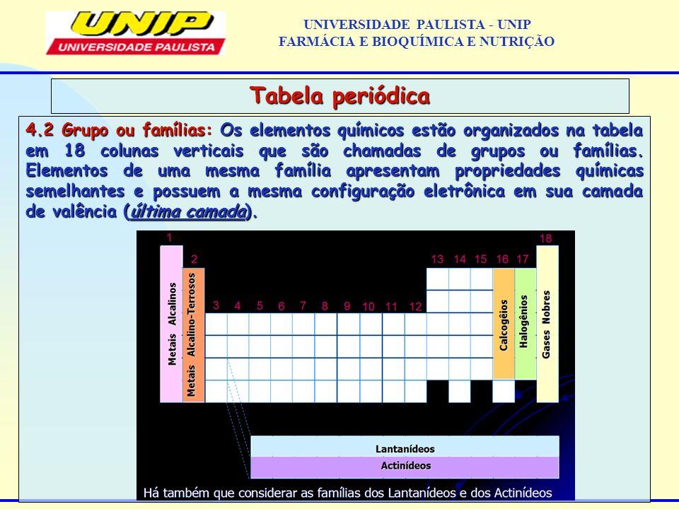 4.2 Grupo ou famílias: Os elementos químicos estão organizados na tabela em 18 colunas verticais que são chamadas de grupos ou famílias. Elementos de
