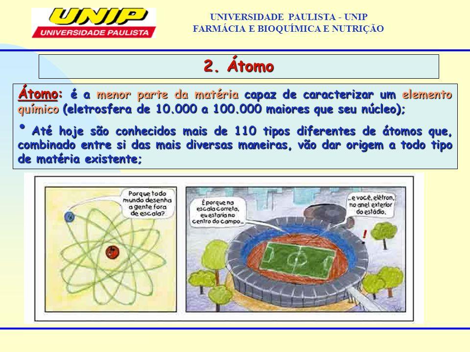 UNIVERSIDADE PAULISTA - UNIP FARMÁCIA E BIOQUÍMICA E NUTRIÇÃO 2. Átomo Átomo: é a menor parte da matéria capaz de caracterizar um elemento químico (el