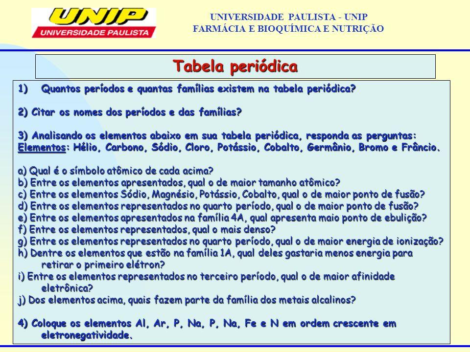 1)Quantos períodos e quantas famílias existem na tabela periódica? 2) Citar os nomes dos períodos e das famílias? 3) Analisando os elementos abaixo em