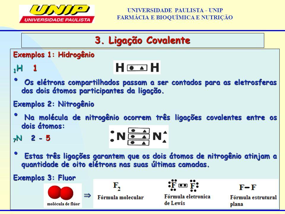Exemplos 1: Hidrogênio 1 H 1 Os elétrons compartilhados passam a ser contados para as eletrosferas dos dois átomos participantes da ligação. Os elétro