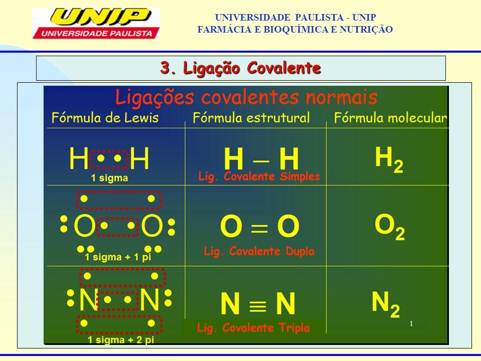 3. Ligação Covalente UNIVERSIDADE PAULISTA - UNIP FARMÁCIA E BIOQUÍMICA E NUTRIÇÃO