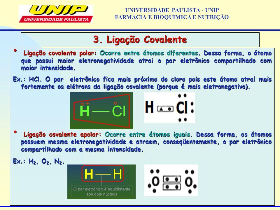 Ligação covalente polar: Ocorre entre átomos diferentes. Dessa forma, o átomo que possui maior eletronegatividade atrai o par eletrônico compartilhado