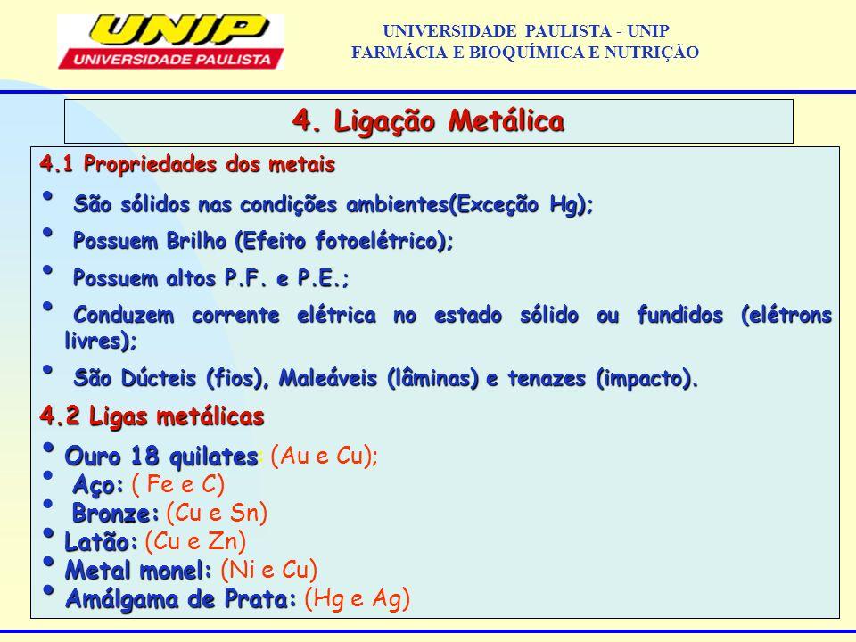 4.1 Propriedades dos metais São sólidos nas condições ambientes(Exceção Hg); São sólidos nas condições ambientes(Exceção Hg); Possuem Brilho (Efeito f