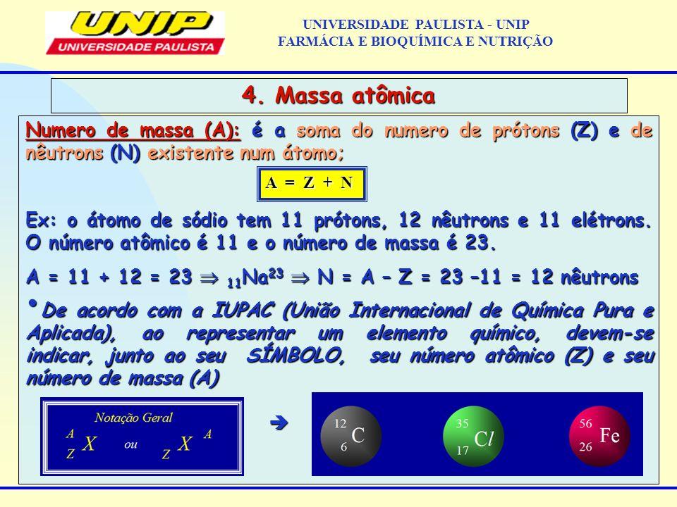 Numero de massa (A): é a soma do numero de prótons (Z) e de nêutrons (N) existente num átomo; Ex: o átomo de sódio tem 11 prótons, 12 nêutrons e 11 el