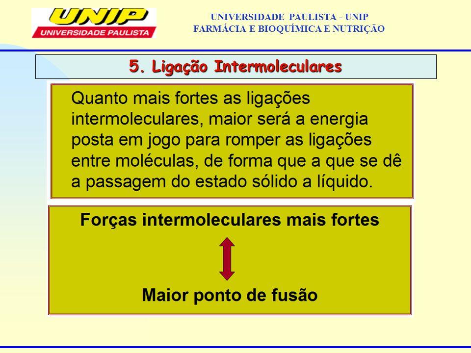 5. Ligação Intermoleculares UNIVERSIDADE PAULISTA - UNIP FARMÁCIA E BIOQUÍMICA E NUTRIÇÃO