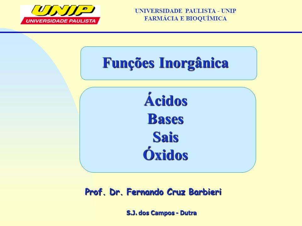 S.J. dos Campos - Dutra Prof. Dr. Fernando Cruz Barbieri UNIVERSIDADE PAULISTA - UNIP FARMÁCIA E BIOQUÍMICA Funções Inorgânica ÁcidosBasesSaisÓxidos