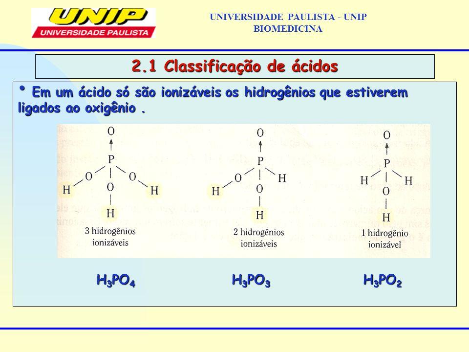 UNIVERSIDADE PAULISTA - UNIP BIOMEDICINA 2.1 Classificação de ácidos Em um ácido só são ionizáveis os hidrogênios que estiverem ligados ao oxigênio. E