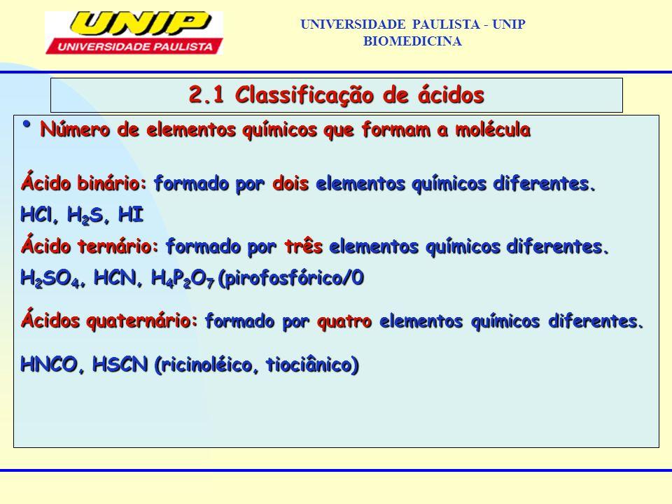 UNIVERSIDADE PAULISTA - UNIP BIOMEDICINA 2.1 Classificação de ácidos Número de elementos químicos que formam a molécula Número de elementos químicos q