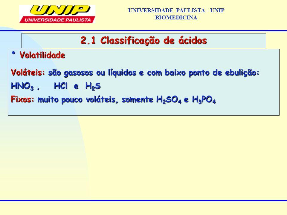 UNIVERSIDADE PAULISTA - UNIP BIOMEDICINA 2.1 Classificação de ácidos Volatilidade Volatilidade Voláteis: são gasosos ou líquidos e com baixo ponto de